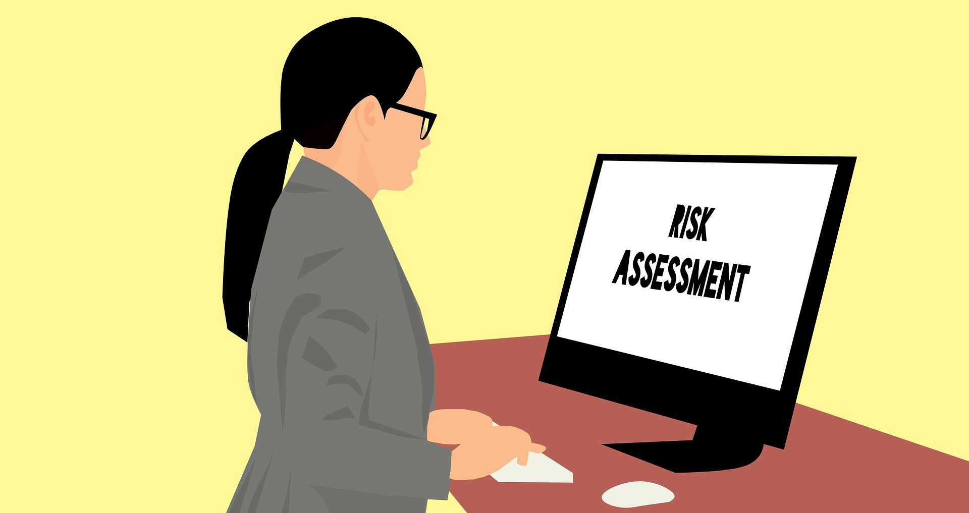 graphic of person looking at vdu screen with words risk assessment on it